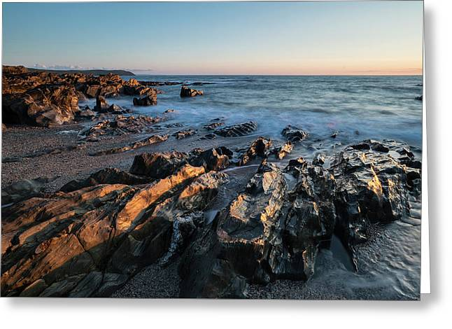 Beautiful Vibrant Sunset Landscape Image Of Calm Sea Against Roc Greeting Card by Matthew Gibson