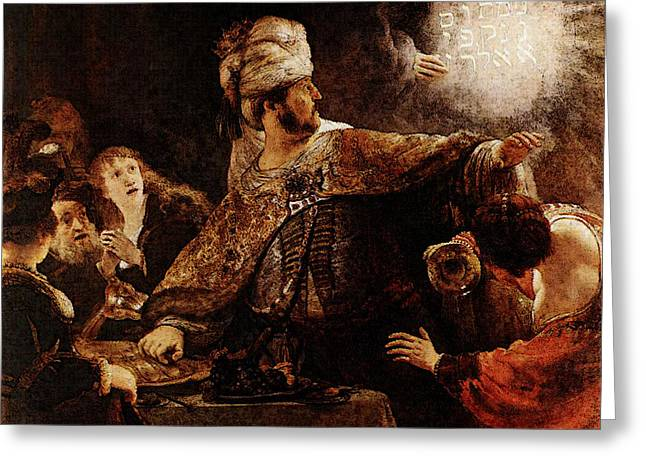 Belshazzars Feast  Greeting Card by Rembrandt