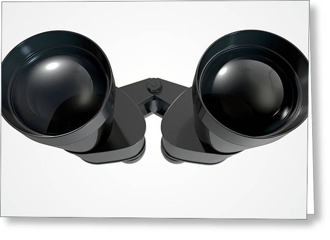 Binoculars Isolated Greeting Card by Allan Swart
