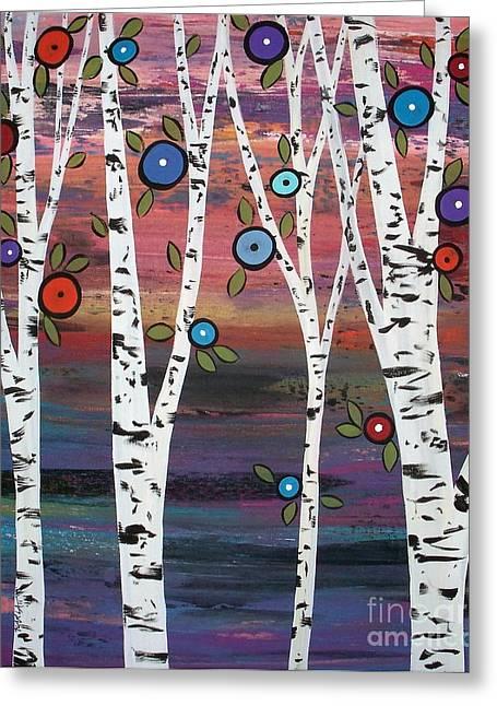 4 Birches Greeting Card