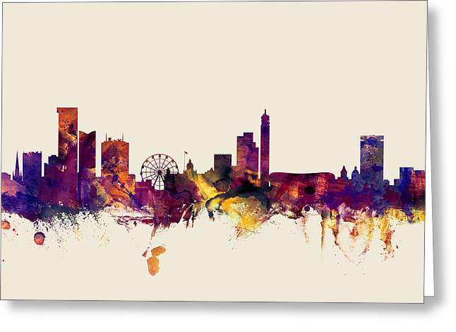 Birmingham England Skyline Greeting Card