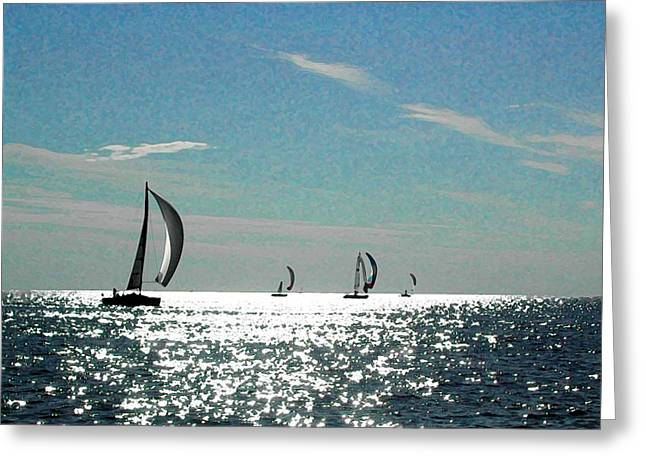 4 Boats On The Horizon Greeting Card