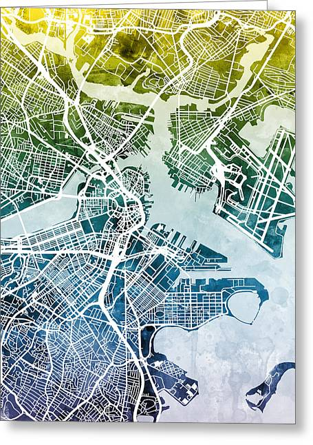 Boston Massachusetts Street Map Greeting Card by Michael Tompsett