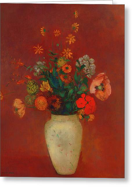 Greeting Card featuring the painting Bouquet In A Chinese Vase by Odilon Redon