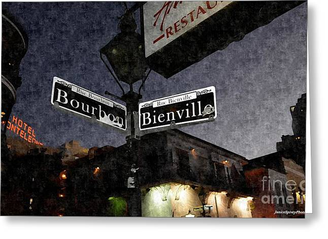Bourbon Street Greeting Card by Janice Spivey