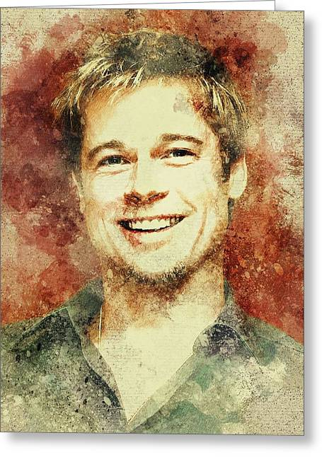 Brad Pitt Print Greeting Card