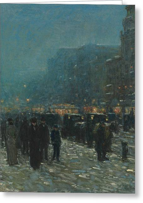 Broadway And 42nd Street Greeting Card by Childe Hassam