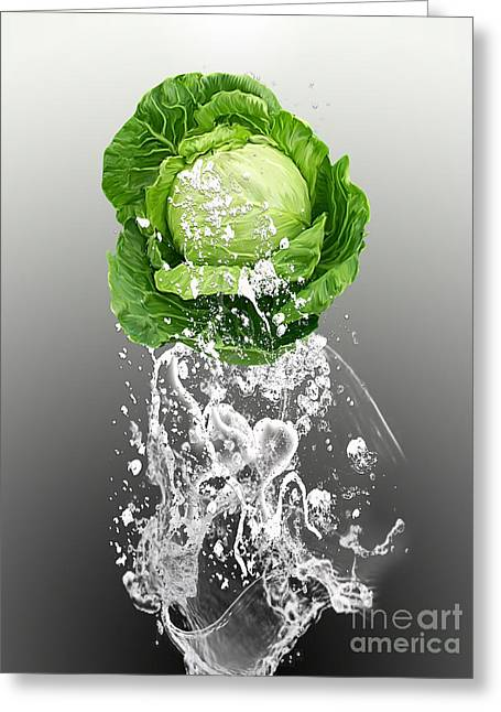 Cabbage Splash Greeting Card by Marvin Blaine