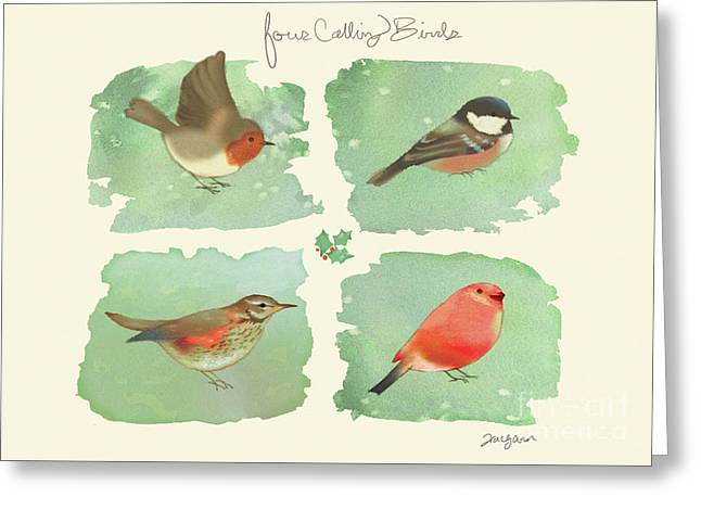 4 Calling Birds Greeting Card by Tracy Herrmann