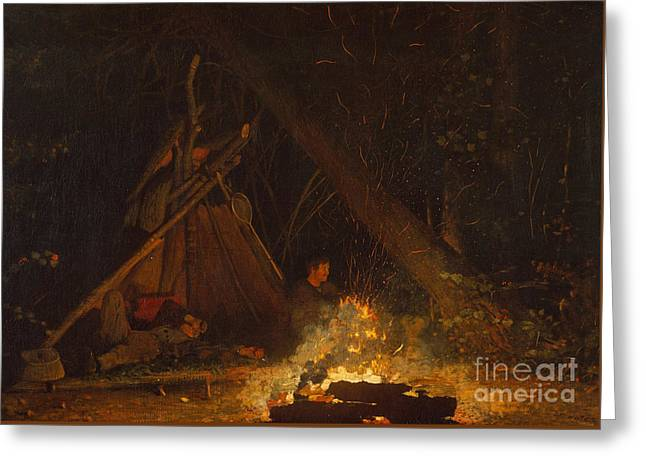 Camp Fire Greeting Card by Winslow Homer