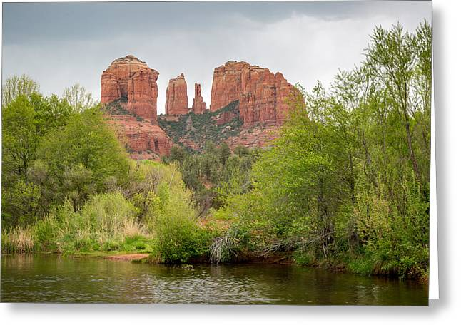 Cathedral Rock Greeting Card by Jon Manjeot
