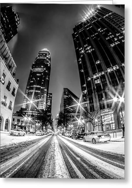 Charlotte Nc Skyline Covered In Snow Greeting Card by Alex Grichenko