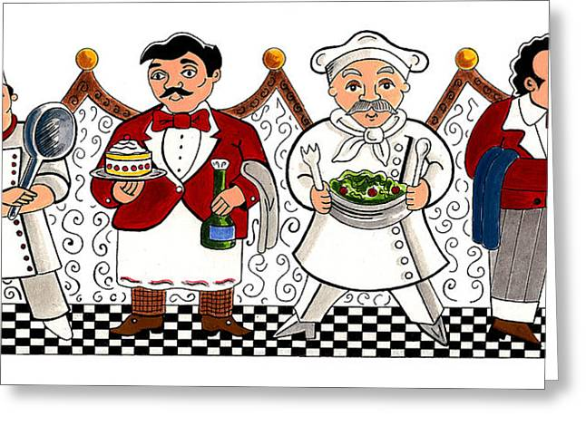 4 Chefs Greeting Card by John Keaton