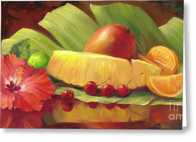 4 Cherries Greeting Card by Laurie Hein