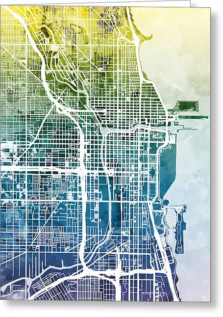Chicago City Street Map Greeting Card by Michael Tompsett