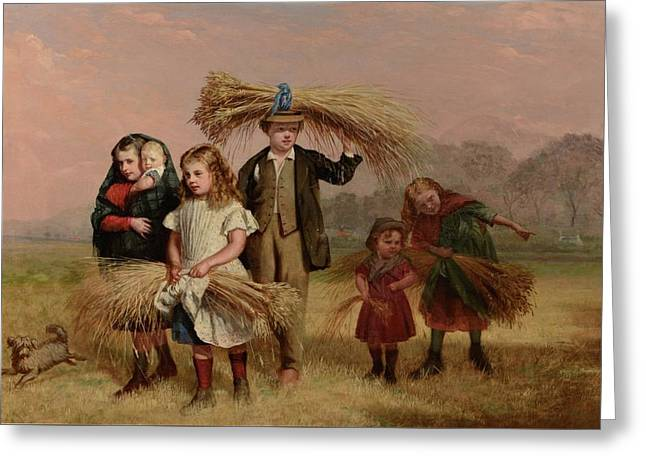 Children Returning Home From Gleaning Greeting Card