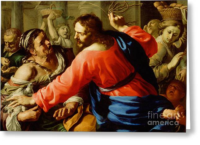 Christ Cleansing The Temple Greeting Card