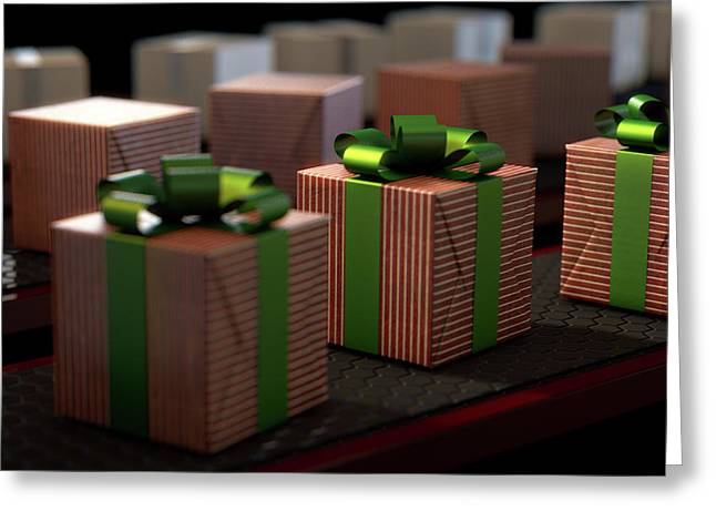 Christmas Production Line Greeting Card by Allan Swart