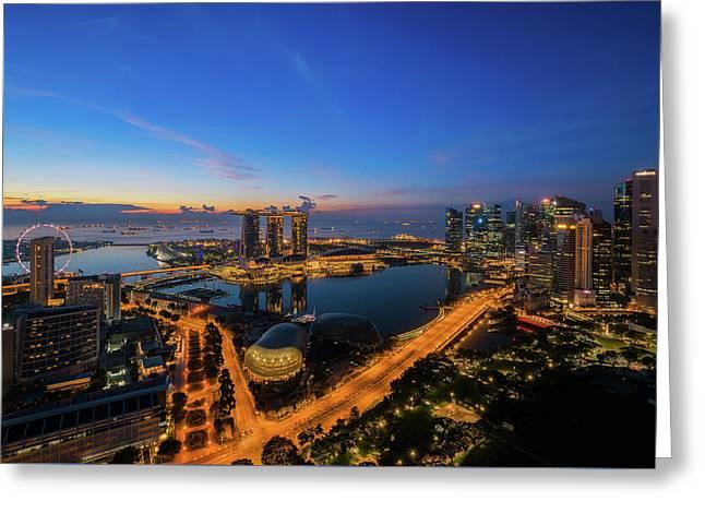 cityscape of Singapore city  Greeting Card by Anek Suwannaphoom