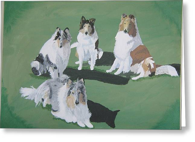 4 Collies Greeting Card by Wendy Jackson