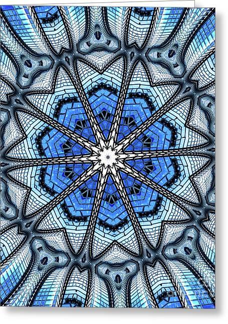 Colorful Blue Kaleidoscopic Design Greeting Card