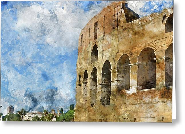 Colosseum In Rome, Italy  Greeting Card by Brandon Bourdages