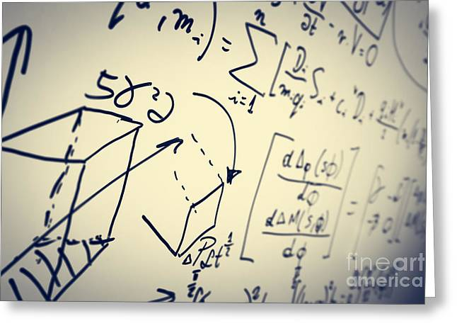 Complex Math Formulas On Whiteboard. Mathematics And Science With Economics Greeting Card