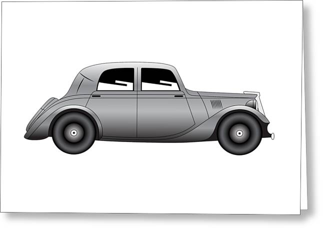 Greeting Card featuring the digital art Coupe - Vintage Model Of Car by Michal Boubin