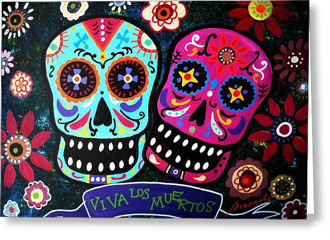 Couple Day Of The Dead Greeting Card by Pristine Cartera Turkus