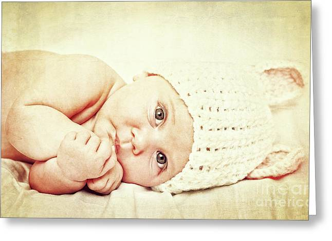 Greeting Card featuring the photograph Cute Newborn Portrait by Gualtiero Boffi