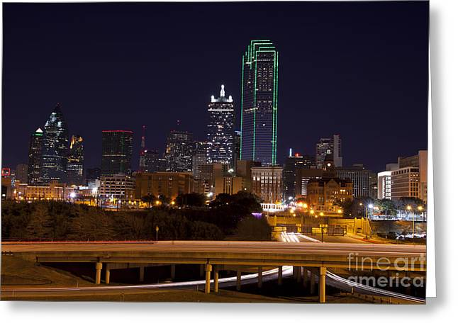 Dallas Texas Night Greeting Card by Anthony Totah