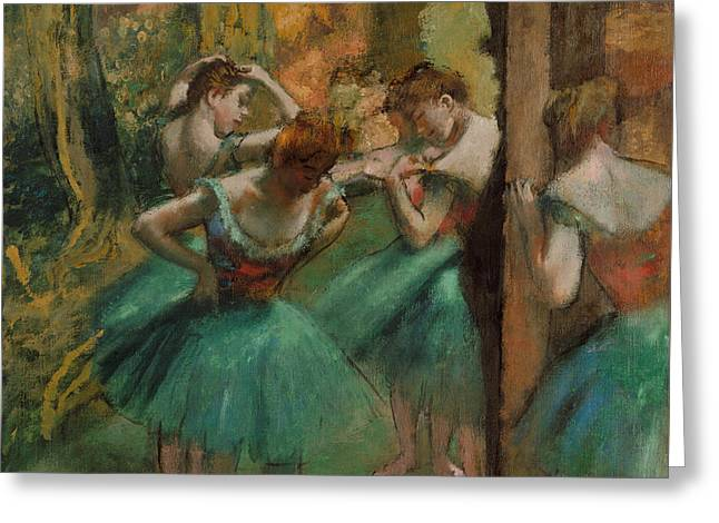 Dancers, Pink And Green Greeting Card by Edgar Degas
