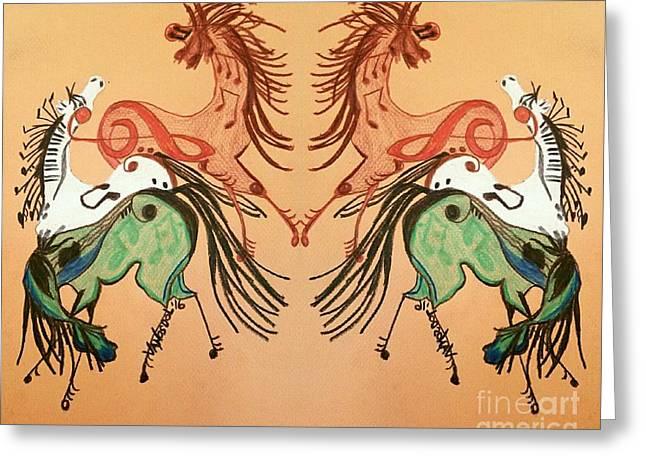 Dancing Musical Horses Greeting Card