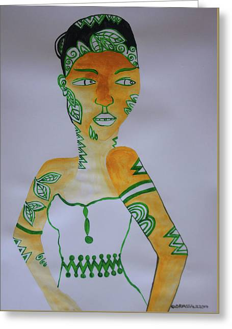 Decorated African Queen Greeting Card by Gloria Ssali