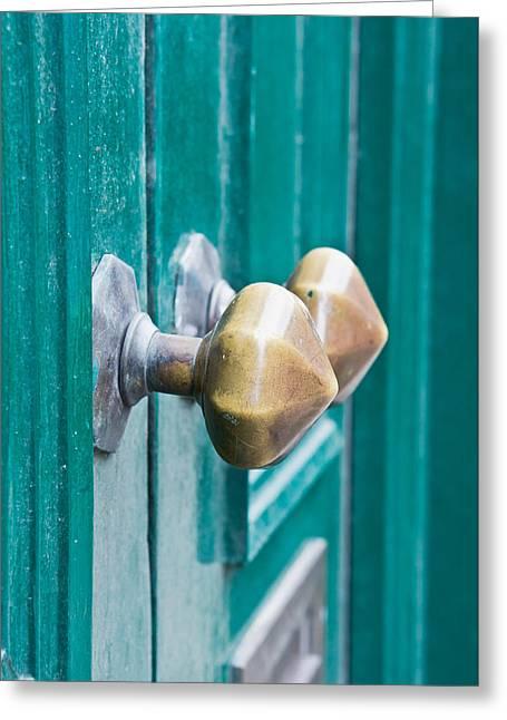 Door Handles Greeting Card by Tom Gowanlock