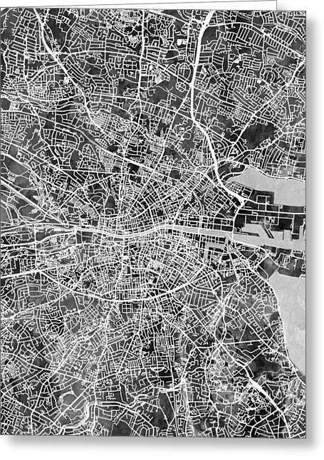 Dublin Ireland City Map Greeting Card by Michael Tompsett