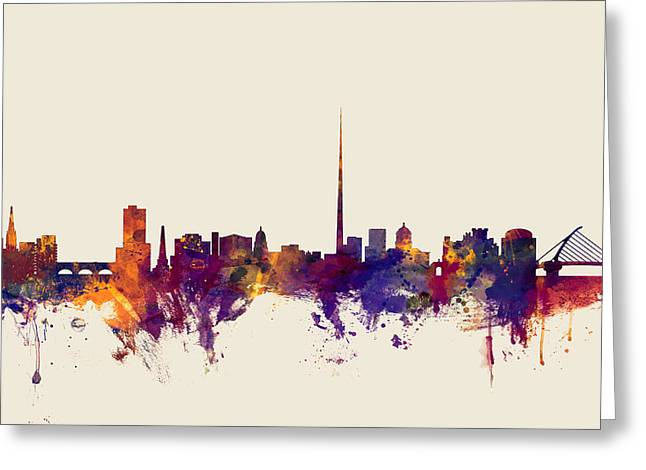 Dublin Ireland Skyline Greeting Card by Michael Tompsett