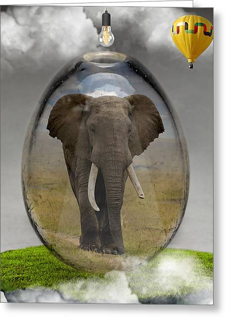 Elephant Art Greeting Card by Marvin Blaine
