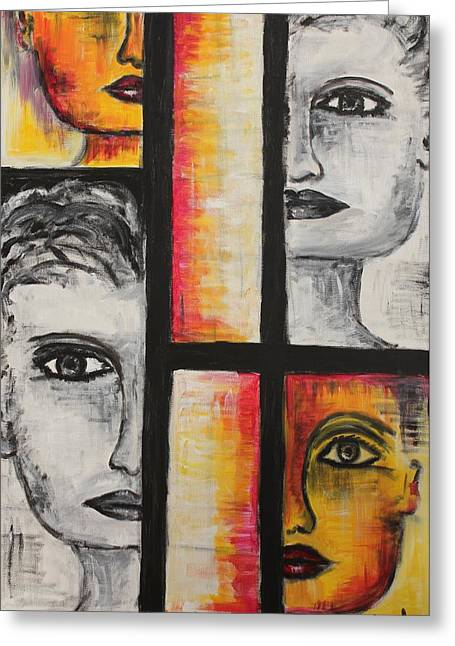 Greeting Card featuring the painting 4 Faces by Sladjana Lazarevic