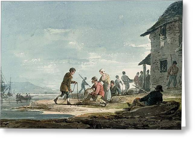 Fishermen At Work On The Foreshore Greeting Card by William Payne