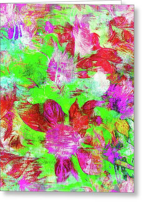 Floral Digital Pattern Greeting Card by Tom Gowanlock