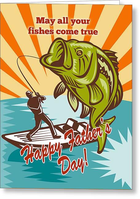 Fly Fisherman On Boat Catching Largemouth Bass Greeting Card by Aloysius Patrimonio