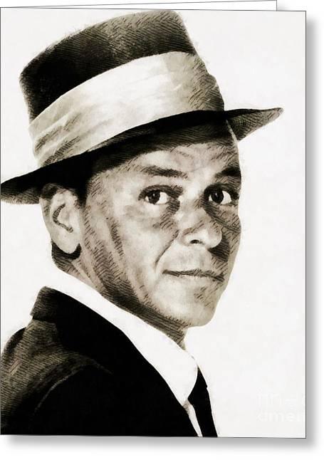 Frank Sinatra, Vintage Hollywood Legend Greeting Card by John Springfield