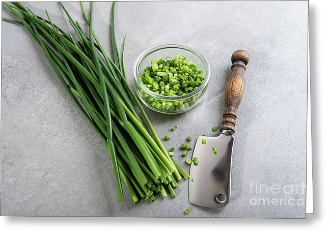 Fresh Green Chives On Grey Background Greeting Card by B-d-s