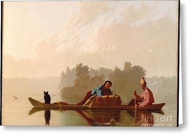 Fur Traders Descending The Missouri Greeting Card by Celestial Images