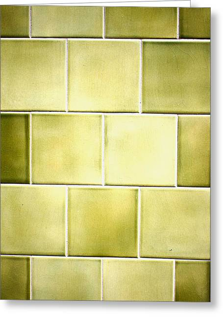 Green Tiles Greeting Card by Tom Gowanlock