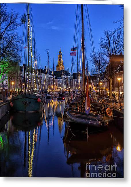 Groningen At Night With Boats And Lights Greeting Card by Patricia Hofmeester