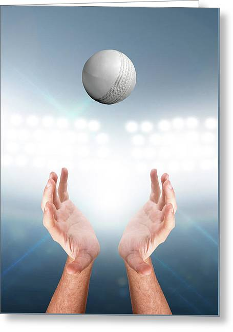 Hands Catching Ball Greeting Card