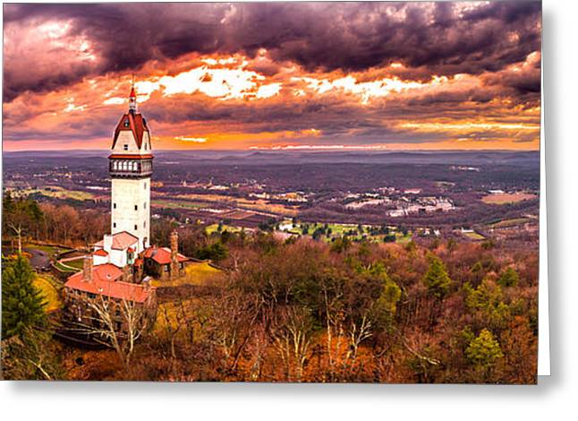 Greeting Card featuring the photograph Heublein Tower, Simsbury Connecticut, Cloudy Sunset by Petr Hejl