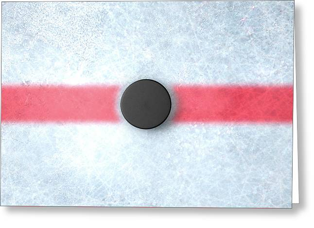 Hockey Puck Centre Greeting Card by Allan Swart